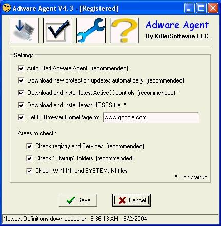 Adware Agent يحمي الجهاز spyware/adware/worm